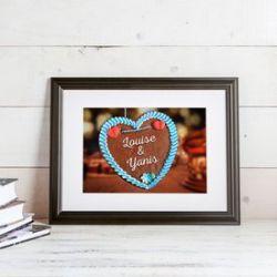 Cœur en pain d'épice – tableau personnalisé