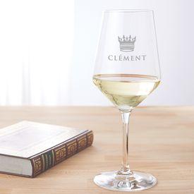 Verre  vin blanc avec gravure  Couronne de roi