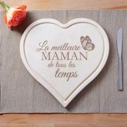 Coeur en bois gravé - La meilleure maman de tous les temps