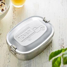 Gravierte Edelstahl Lunchbox fr Jungs - rund