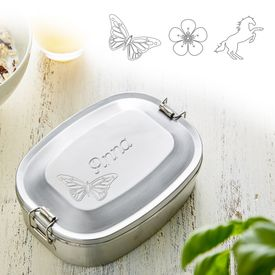Gravierte Edelstahl Lunchbox fr Mdchen - rund