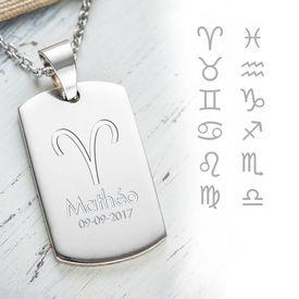 Pendentif dog tag avec gravure  symboles des signes du zodiac