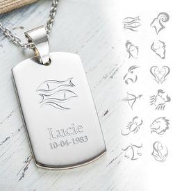 Pendentif dog tag avec gravure  signe du zodiac