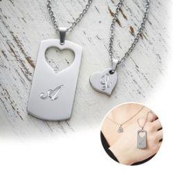 Set de pendentifs cœurs pour couples – gravure des initiales
