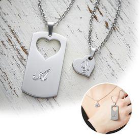 Set de pendentifs curs pour couples  gravure des initiales
