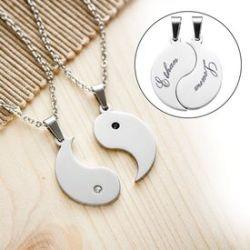 Set de pendentifs Yin et Yang pour couples - avec gravure