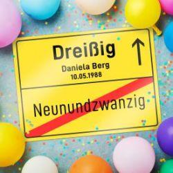 Personalisiertes Ortsschilderbild - 30. Geburtstag