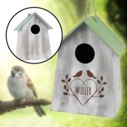 Vogelhäuschen mit Holzgravur - grün