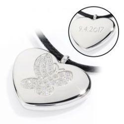 Pendentif cœur avec gravure - Papillon