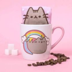 Pusheen Katzen Tasse mit Socken - Einhorn