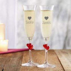 Flûtes à champagne cœur avec gravure du nom