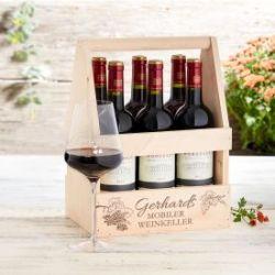 Flaschenträger mit Weinglas personalisiert - Mobiler Weinkeller