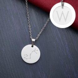 Pendentif rond argenté - Signe astrologique avec initiale