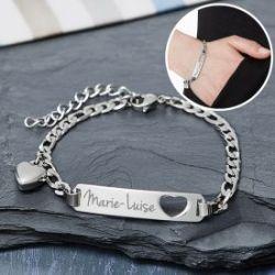 Bracelet avec cœur poiçonné argenté - Gravure du nom