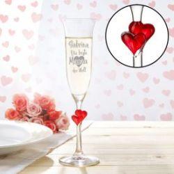 Herzen Sektglas mit Gravur - Beste Mama der Welt