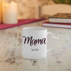 Personalisierte Herz Henkeltasse - Mama seit