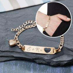 Bracelet avec cœur poinçonné couleur or - Gravure des initiales