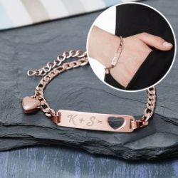 Bracelet couleur or rose avec cœur poinçonné - Initiales