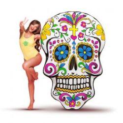 Matelas gonflable - Tête de mort multicolore