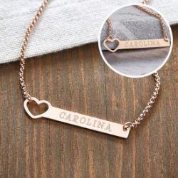 Collier bronze avec cœur poinçonné - Gravure du nom