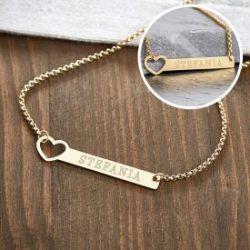 Collier doré avec cœur poinçonné - Gravure du nom