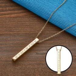 Kette mit Stabanhänger Gold - Geokoordinaten
