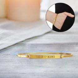 Armreif Gold mit Gravur - Mama Name