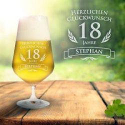 Verre à bière pour le 18ème anniversaire