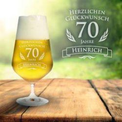 Bierglas zum 70. Geburtstag