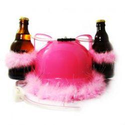 Casque à bière rose avec pompons scintillants