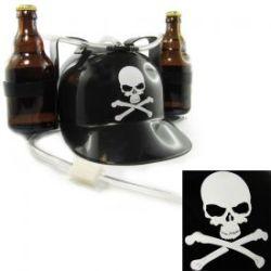 Casque à bière noir avec tête de mort