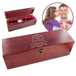 Edle Weingeschenkbox aus Echtholz - Bester Papa