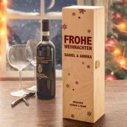 Edle Weinkiste - mit Weihnachtsgravur
