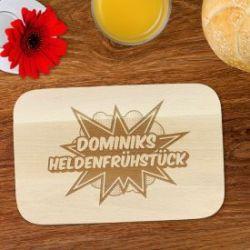 Frühstücksbrettchen mit Gravur - Comic Held