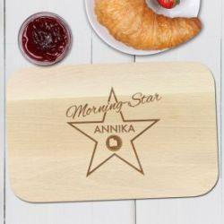 Fr�hst�cksbrettchen mit Gravur - Morning Star
