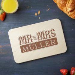 Frühstücksbrettchen mit Gravur - Mr and Mrs
