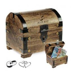 Coffre au trésor pour des cadeaux d'argent bois foncé – mariage