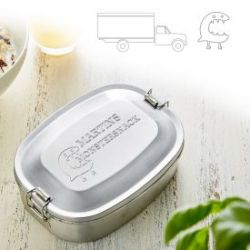 Gravierte Edelstahl Lunchbox für Jungs - rund