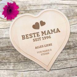 Graviertes Holzherz - Beste Mama von Herzen