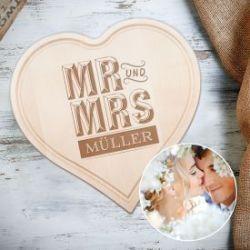 Cœur bois gravé – Mr. Et Mrs.
