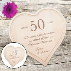 Graviertes Holzherz zur Goldenen Hochzeit