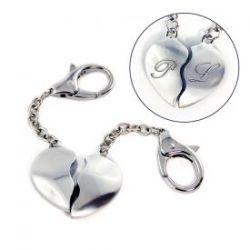 Porte-clés partenaire cœur en métal