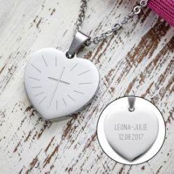 Herzanhänger graviert mit Kette - Kommunion