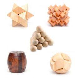 Casse-têtes en bois - Génie QI - Lot de 5