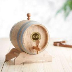 Holzfass mit Gravur Plakette - Initialen