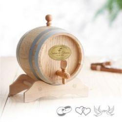 Holzfass mit Gravur Plakette zur Hochzeit