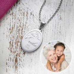 Kettenanhänger oval mit Gravur - Beste Oma