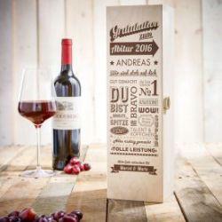 Personalisierte Weinkiste zum Abitur - Collage