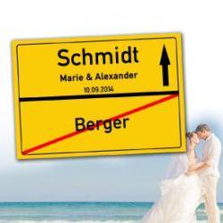 Personalisiertes Ortsschilderbild - Hochzeit