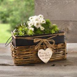 Pflanzenkorb mit graviertem Holzherz - Beste Mutti